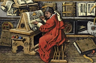 Jean Meliot, 15th century scholar and author of , shown at work on a manuscript in a scriptorium. From a miniature painting, ca. 1480. --- Image by © Bettmann/CORBIS